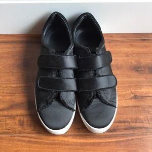 Joie Satin Black Velcro Sneakers